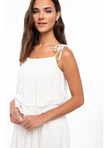 DeFacto Askılı Uzun Elbise Ekru